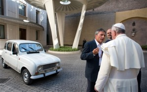 The Practical Pope Francis and his vehicle.