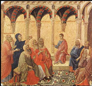 Jesus in the Temple by Duccio di Buoninsegna